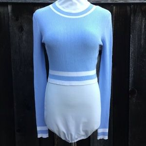 H&M Light Blue and White Sweater